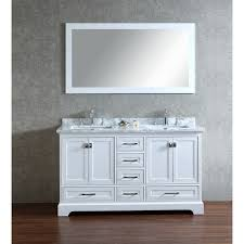 White Double Vanity 60 Stufurhome White 60 Inch Double Sink Bathroom Vanity Set With