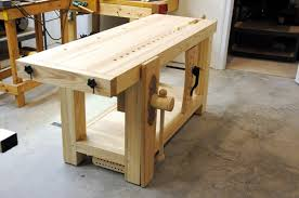 roubo bench with hand made wooden wagon vise finewoodworking