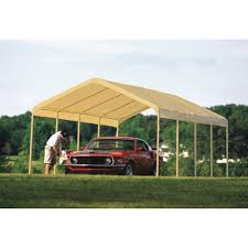 outdoor shelterlogic canopy design with green grass and patio