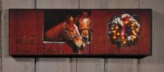 radiance flickering light canvas horse stable with christmas wreath lighted picture item 38991