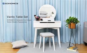 Blue Vanity Table Amazon Com Songmics Vanity Table Set With Mirror 2 Large Sliding
