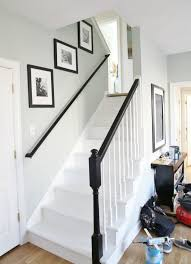 Staining Stair Banister Painted Staircase Makeover With Seagrass Stair Runner Painted