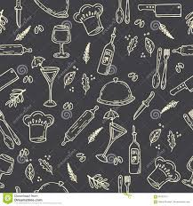 hand drawn food seamless pattern sketch kitchen design elements