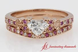 Gold Diamond Wedding Ring Sets by Heart Shaped Diamond Wedding Ring Sets With Pink Sapphire In 14k