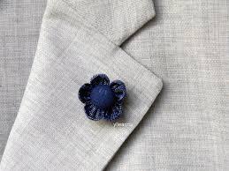 blue boutonniere ylleanna men lapel pin flower brooch blue boutonniere