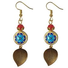 earring dangles ethnic craftsmanship cloisonne enamel pattern