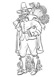 Pilgrim With Musket And Turkey Coloring Page Free Printable Turkey Coloring Pages Printable