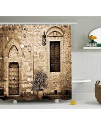 shower curtain house sepia view print for bathroom