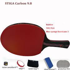 stiga pro carbon table tennis racket new update table tennis racket pat set carbon hybrid wood 9 8 rubber