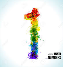 color paint splashes gradient vector font number 1 royalty free