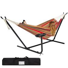 Hammock With Wood Stand Best Choice Products Double Hammock And Steel Stand W Cup Holder Acce