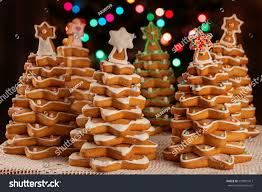 homemade gingerbread cookies christmas trees decorated stock photo