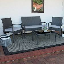 4 Piece Wicker Patio Furniture - sunnydaze pompeii 4 piece lounger patio furniture set with grey