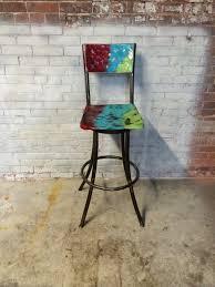 Painted Metal Vintage Cosco High Chair Metal Swivel Bar Stool Vintage Look Mexican Spanish Fiesta