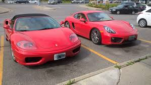 porsche ferrari two red cars side by side ferrari 360 modena vs porsche cayman 981