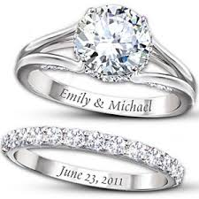 personalized wedding bands diamonesk personalized engagement ring and wedding band set