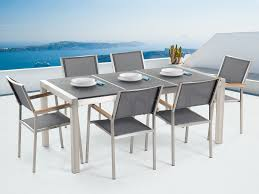 6 Seat Patio Table And Chairs Outdoor Dining Set For 6 Granite Top And Gray Chairs Grosseto