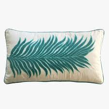 embroidered palm large lumbar pillow dear keaton