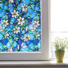 colorful lily pattern static frosted window film glass film window