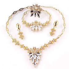 gold necklace bracelet earrings set images Buy 18k gold filled white sapphire clear austrian crystal necklace jpg
