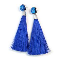 funky earrings glitter stud tassel with removeable silk tassel unique