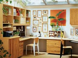 home office designed with wooden desk and wall decor home office
