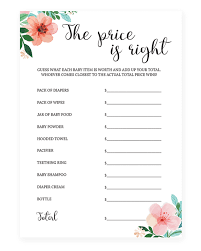 the price is right baby shower game printable floral baby shower