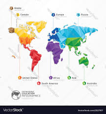 World Map Australia by World Map Infographics Geometric Concept Design Vector Image