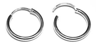 silver sleeper earrings 16 mm diameter hinged heavy weight sleeper hoop earrings in