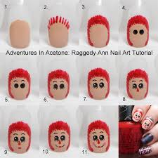 tutorial tuesday raggedy ann nail art adventures in acetone
