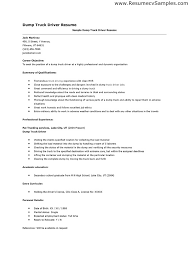 dump truck driver resume emphasizing career objective and summary