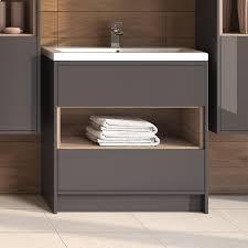 Grey Vanity Unit Coast Designer 800mm Freestanding Gloss Grey Vanity Unit