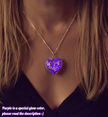 purple heart necklace images Purple glowing heart necklace wife gift necklace gift jpg