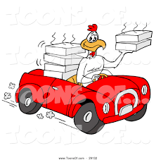 cartoon convertible car cartoon of a food delivery chicken driving a convertible car by