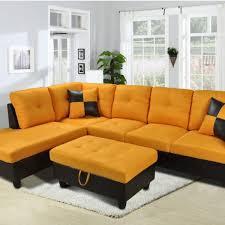 Yellow Storage Ottoman F109 U2013 Yellow Orange Microfiber Sectional Set With Storage Ottoman