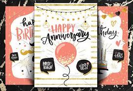 happy birthday cards set of 3 invitation templates creative