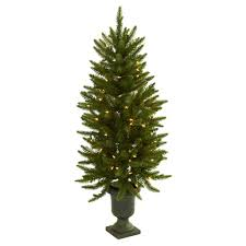 4ft christmas tree 4 ft pre lit christmas tree with urn clear lights green ebay