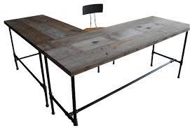 Reclaimed Wood Desk Modern Industry L Shape Reclaimed Wood Desk Desks And Hutches