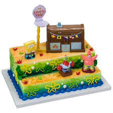 spongebob cake ideas decopac spongebob squarepants krusty krab signature cake decoset