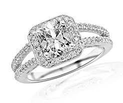cushion cut split shank engagement rings 1 2 carat designer split shank halo style with milgrain