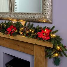 m outdoor green battery pre lit garland with poinsettias