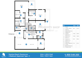 Floor Plans For Apartments 3 Bedroom by Floor Plan Of Saadiyat Beach Residences Saadiyat Island