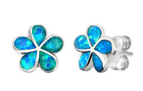 blue opal earrings amazon com sterling silver plumeria flower stud earrings with