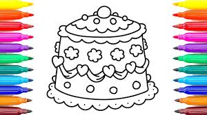 coloring pages cake with cherry and hearts videos for children u0027s