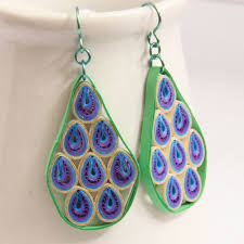 geo abstract peacock niobium earrings eco by honeysquilling on