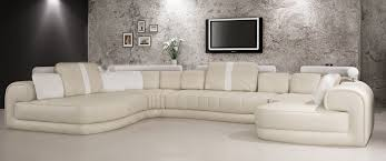 modern bonded leather sectional sofa casa 6129 modern cream and white bonded leather sectional sofa