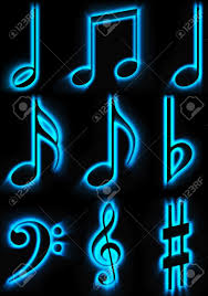 beautiful lights of musical symbols on a black background stock