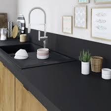 plan de travail cuisine noir plan de travail droit stratifié noir effet mat 315 x 65 cm ép 58