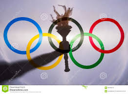 Olimpics Flag Silhouette Of Sport Torch Behind Olympic Flag Editorial Photo