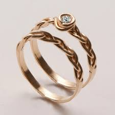 braided wedding band braided wedding ring set 3 14k gold and diamond engagement